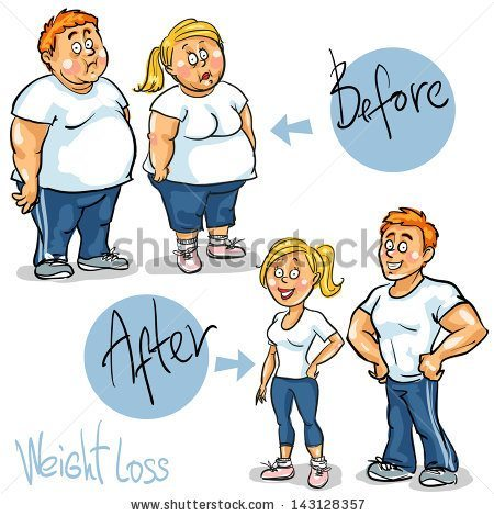 Stock Vector Man And Woman Before And After Weight Loss Program And Training Hand Drawn Funny Cartoon 143128357 Raw Energy