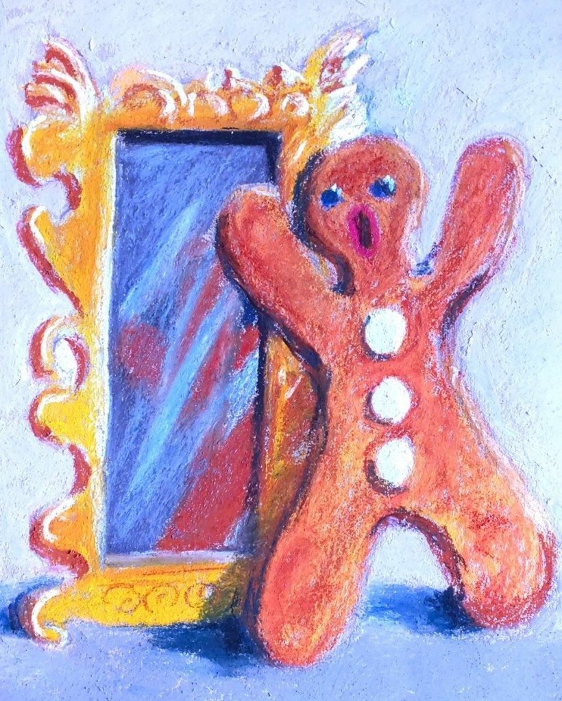 Gingerbread man in front of mirror