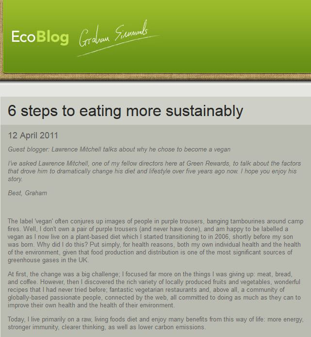 Eco Blog eating sustainably