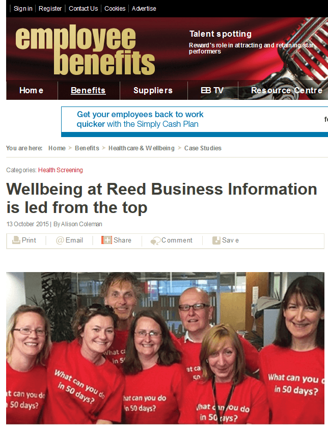 Wellbeing At Reed Business Information by Employee Benefits