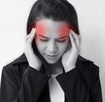 woman with headache, migraine, stress, insomnia, hangover with red danger alert accent raw energy